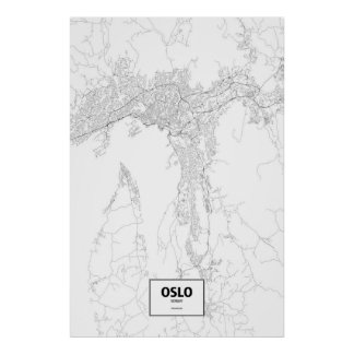 Oslo, Noruega (negro en blanco) Posters