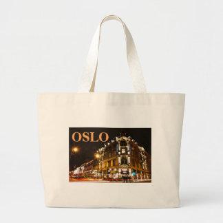 Oslo, Norway at night Large Tote Bag