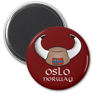 Oslo Norway Viking Hat 2 Inch Round Magnet