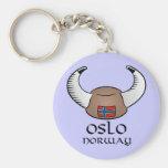 Oslo Norway Viking Hat Basic Round Button Keychain