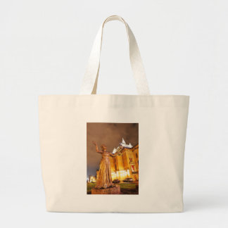 Oslo theatre at night large tote bag