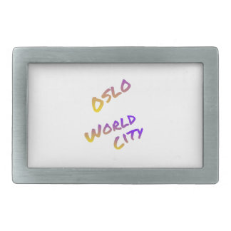Oslo world city, colorful text art rectangular belt buckle
