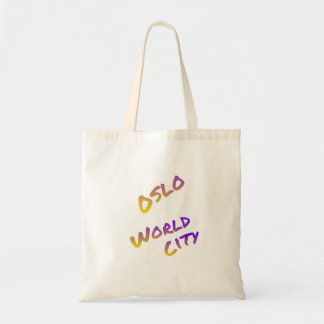 Oslo world city, colorful text art tote bag