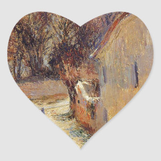 Osny, rue de Pontoise, Winter by Paul Gauguin Heart Sticker