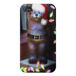 Oso agradable con las luces de navidad iPhone 4/4S carcasas