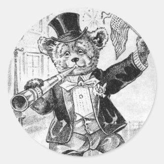 Oso alegre Jerry - letra J - oso de peluche del Etiqueta Redonda