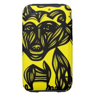 Oso, amarillo del negro del oso polar tough iPhone 3 cárcasas
