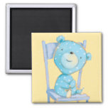 Oso azul del calicó que sonríe en silla imán cuadrado