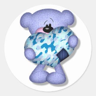oso azul del corazón del camo pegatina redonda