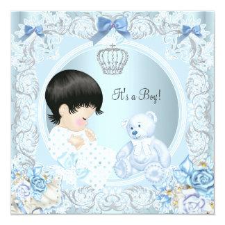"""Oso azul del muchacho del príncipe fiesta de invitación 5.25"""" x 5.25"""""""
