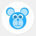 oso azul etiquetas redondas