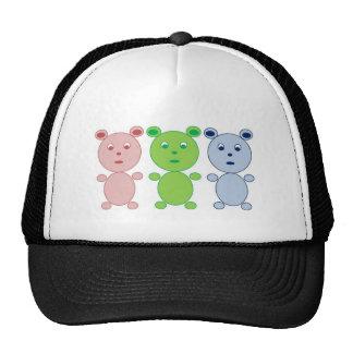 Oso azul rosado y verde gorras de camionero