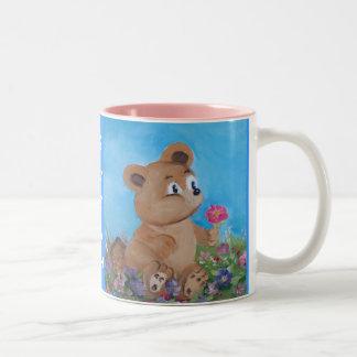 oso azul taza de dos tonos