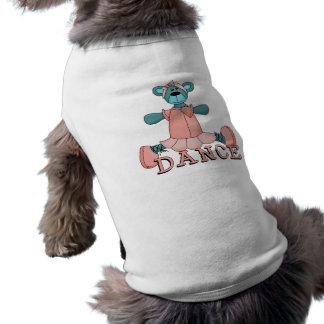 Oso azul y rosado de la danza de la bailarina playera sin mangas para perro
