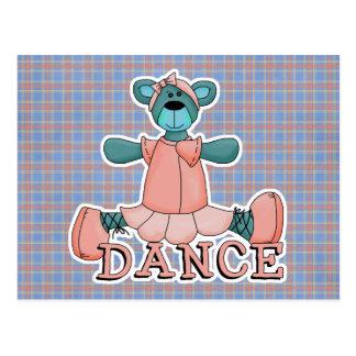 Oso azul y rosado de la danza de la bailarina postal
