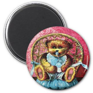 Oso Benny - letra B del bebé - oso de peluche del  Imán Redondo 5 Cm