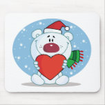 Oso blanco de Santa con el corazón Tapete De Ratones