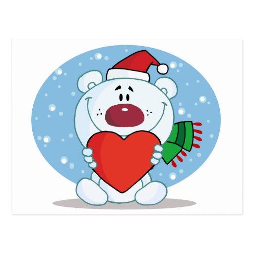 Oso blanco de Santa con el corazón Tarjetas Postales