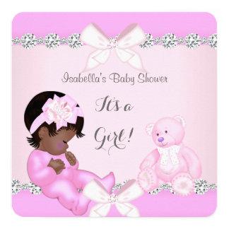 """Oso bonito del juguete del rosa del chica de la invitación 5.25"""" x 5.25"""""""