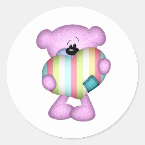 oso borroso del amor del corazón de las rayas de pegatina redonda