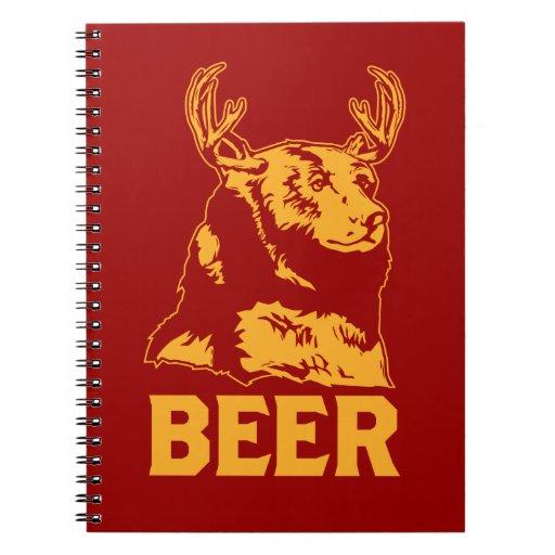 Oso + Ciervos = cerveza Libro De Apuntes Con Espiral