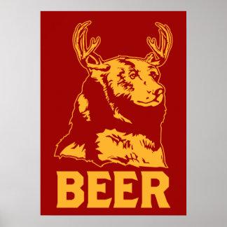 Oso + Ciervos = cerveza Póster