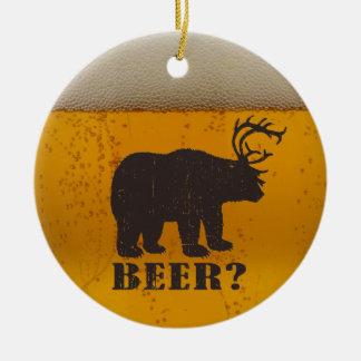 ¿Oso, ciervos o cerveza? Adorno Navideño Redondo De Cerámica