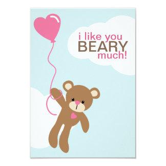 """Oso con las tarjetas del día de San Valentín en Invitación 3.5"""" X 5"""""""