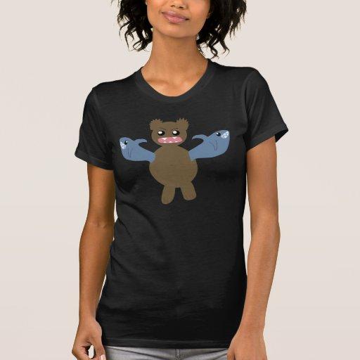 Oso con los tiburones para los brazos camisetas