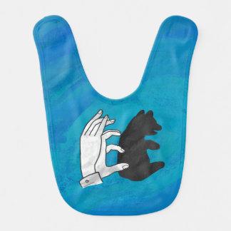 Oso Cub de la sombra en azul Babero De Bebé