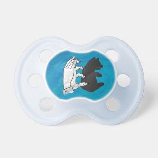 Oso Cub de la sombra en azul Chupete De Bebe