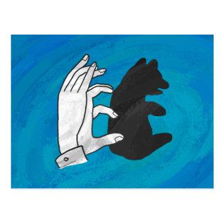 Oso Cub de la sombra en azul Tarjeta Postal