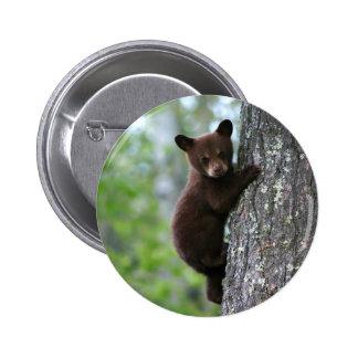 Oso Cub que sube un árbol Pin Redondo De 2 Pulgadas