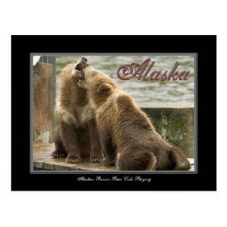 Oso Cubs de Alaska Brown que juega la postal