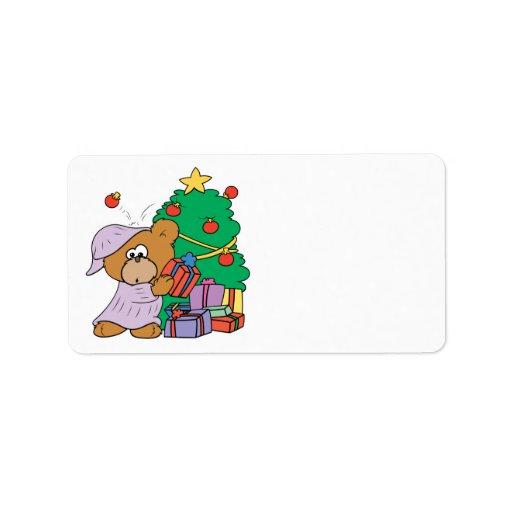 oso curioso lindo del navidad etiquetas de dirección