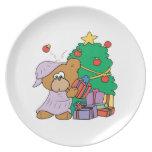 oso curioso lindo del navidad plato