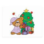 oso curioso lindo del navidad postal
