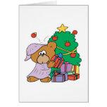 oso curioso lindo del navidad tarjeta de felicitación