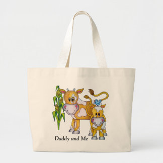 """OSo Cute """"Daddy and Me"""" Cow Large Tote Bag"""