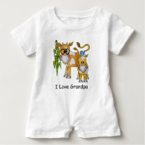 "OSO Cute ""I Love Grandpa"" Cow Baby Romper"