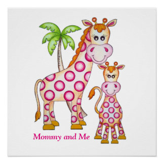 "OSo Cute ""Mommy and Me"" Giraffe Perfect Poster"