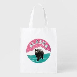 Oso de Alaska del vintage Bolsa Reutilizable