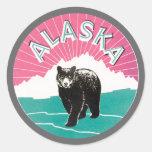 Oso de Alaska Etiqueta Redonda