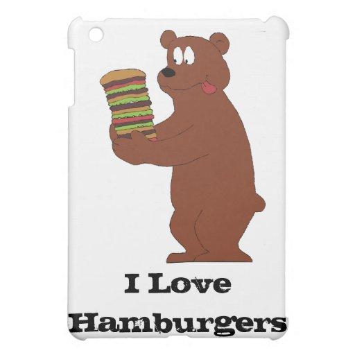 Oso de Brown del dibujo animado con la hamburguesa