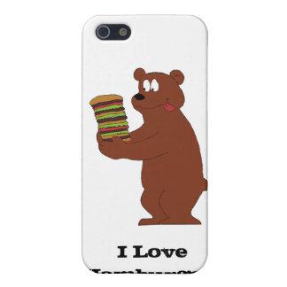 Oso de Brown del dibujo animado con la hamburguesa iPhone 5 Funda