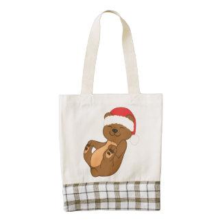 Oso de Brown del navidad con el gorra rojo de Bolsa Tote Zazzle HEART