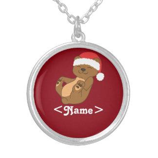 Oso de Brown del navidad con el gorra rojo de Colgante Redondo