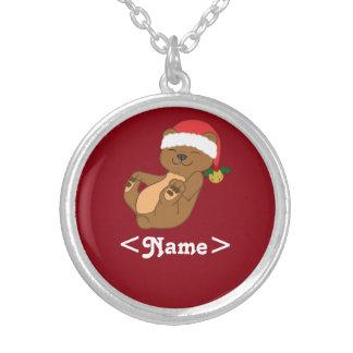Oso de Brown del navidad con el gorra y Jingle Colgante Redondo