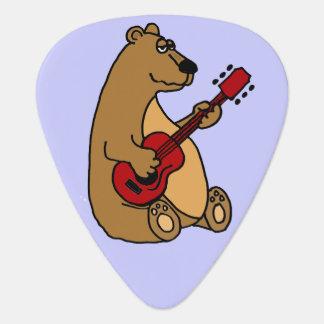 Oso de Brown divertido que toca la guitarra Púa De Guitarra