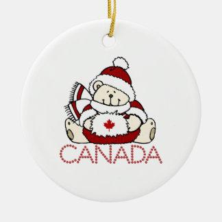 Oso de Canadá de las Felices Navidad Adorno Redondo De Cerámica